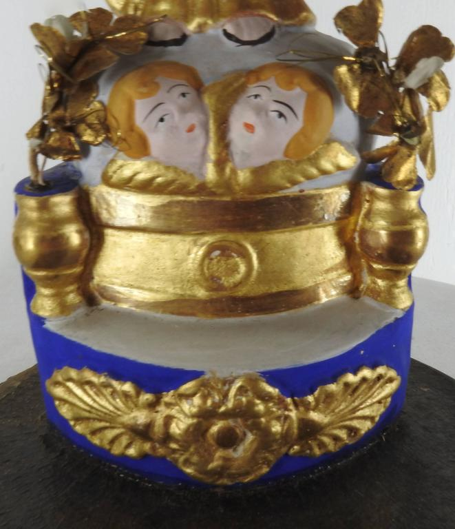 Polychromed Pair of Italian Gilded Religious Sculptures For Sale