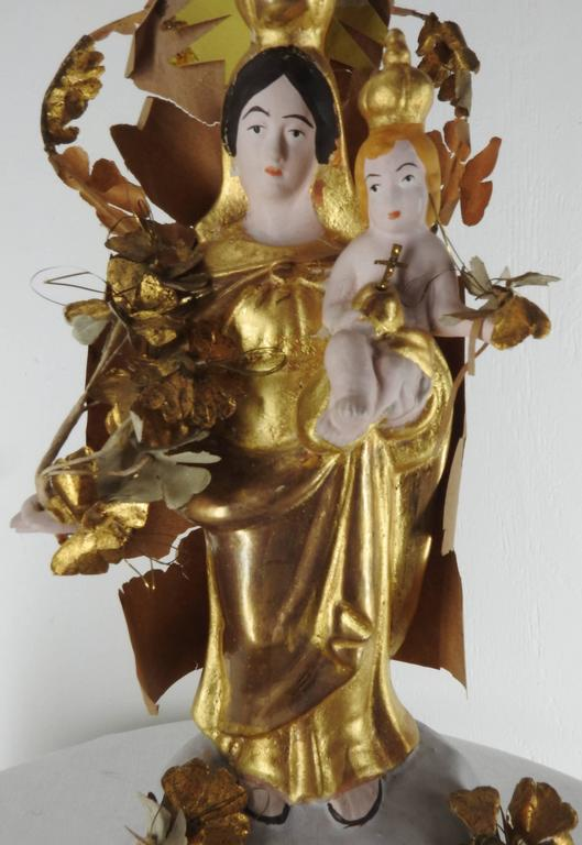 Pair of Italian Gilded Religious Sculptures In Good Condition For Sale In Cookeville, TN