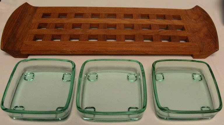 Danish Mid-Century Modern Dansk Teak Lattice Serving Tray In Good Condition For Sale In Cookeville, TN