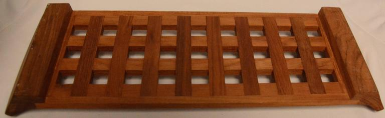 Hand-Crafted Danish Mid-Century Modern Dansk Teak Lattice Serving Tray For Sale