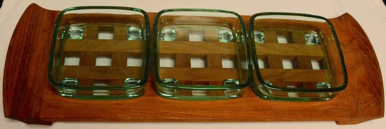 20th Century Danish Mid-Century Modern Dansk Teak Lattice Serving Tray For Sale