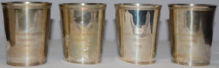 Plated Godinger Silver Plate Julep Cups with Monograms For Sale