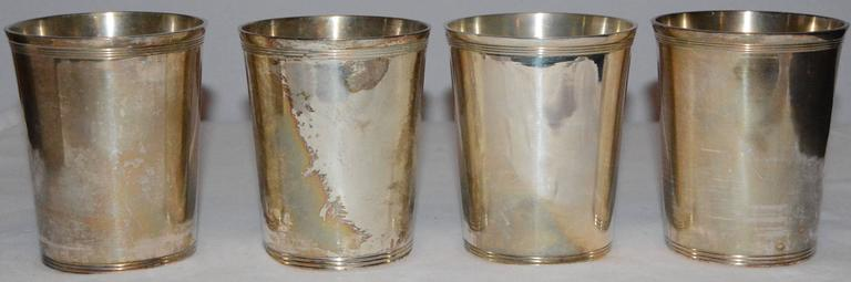 Godinger Silver Plate Julep Cups with Monograms In Good Condition For Sale In Cookeville, TN