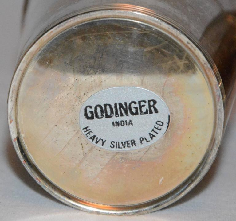 Metal Godinger Silver Plate Julep Cups with Monograms For Sale