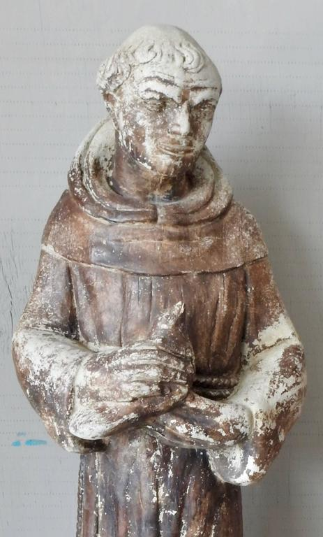American Craftsman St Francis of Assisi Garden Statue For Sale