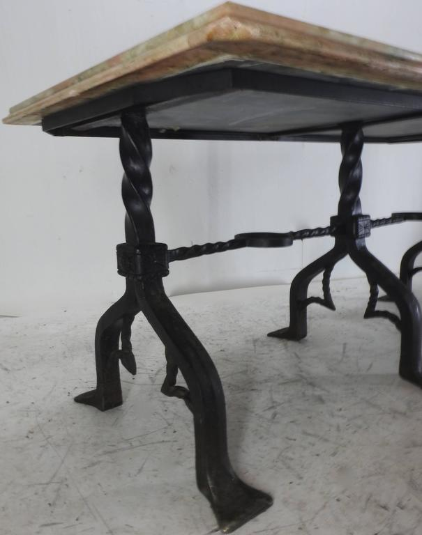French mid 18th century marble top table with wrought iron for Wrought iron table bases marble top