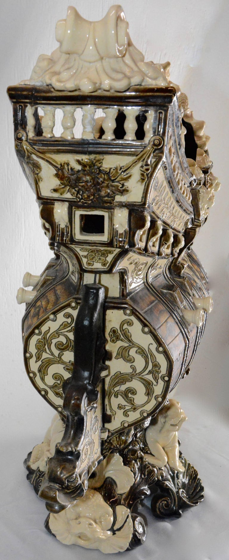 Italian Majolica Ship Surrounded by Animals, Late 19th Century For Sale