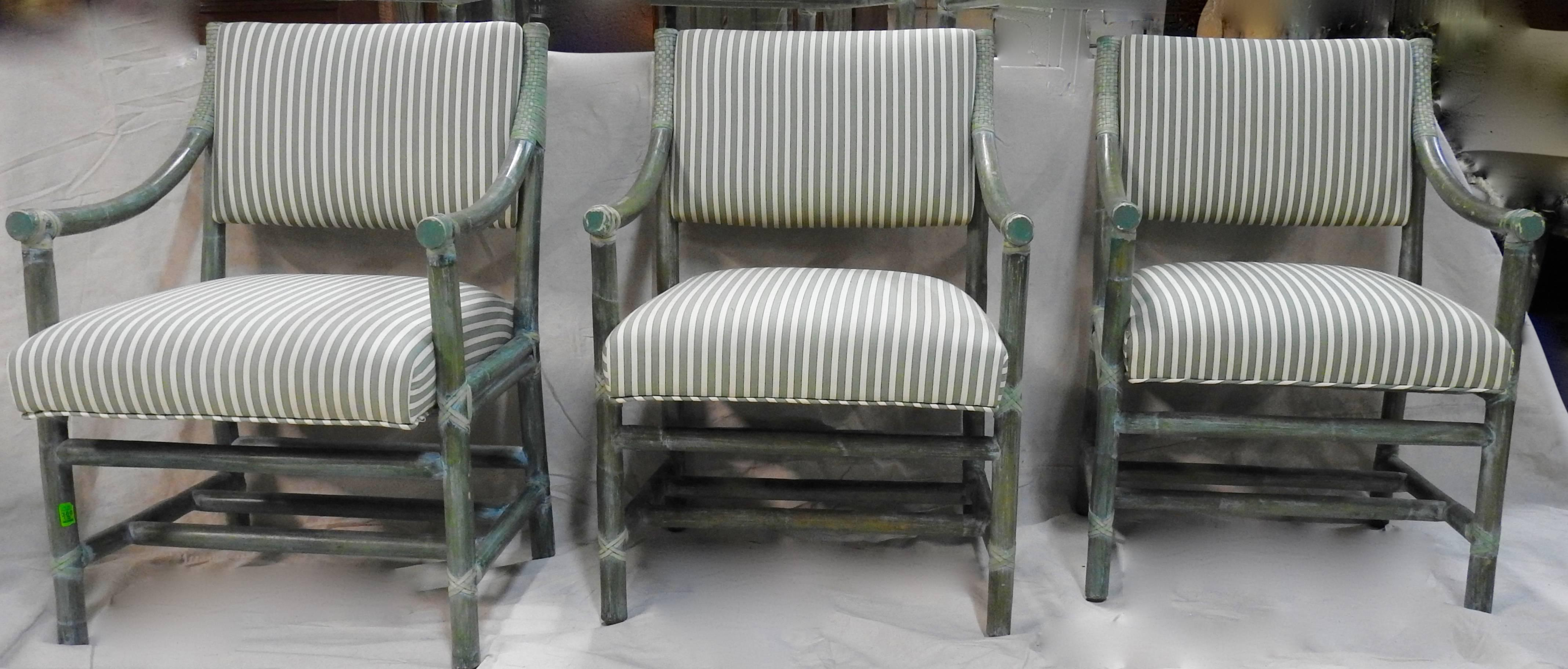 Featured Is A Superb Group Of Six Green Rattan Armchairs From McGuire  Furniture Of San Francisco