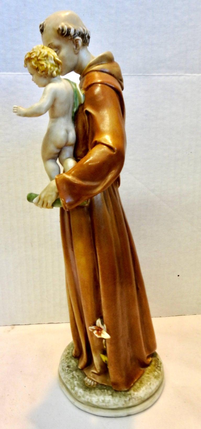 20th Century Midcentury Porcelain Saint Anthony by Antonia Borsato For Sale