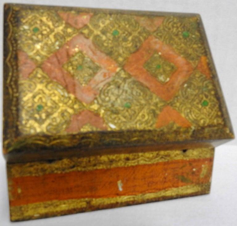 Art Deco Italian Florentine Box with Orange and Giltwood For Sale