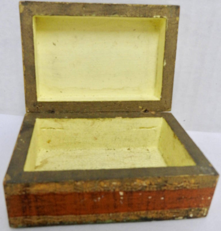 Hand-Carved Italian Florentine Box with Orange and Giltwood For Sale