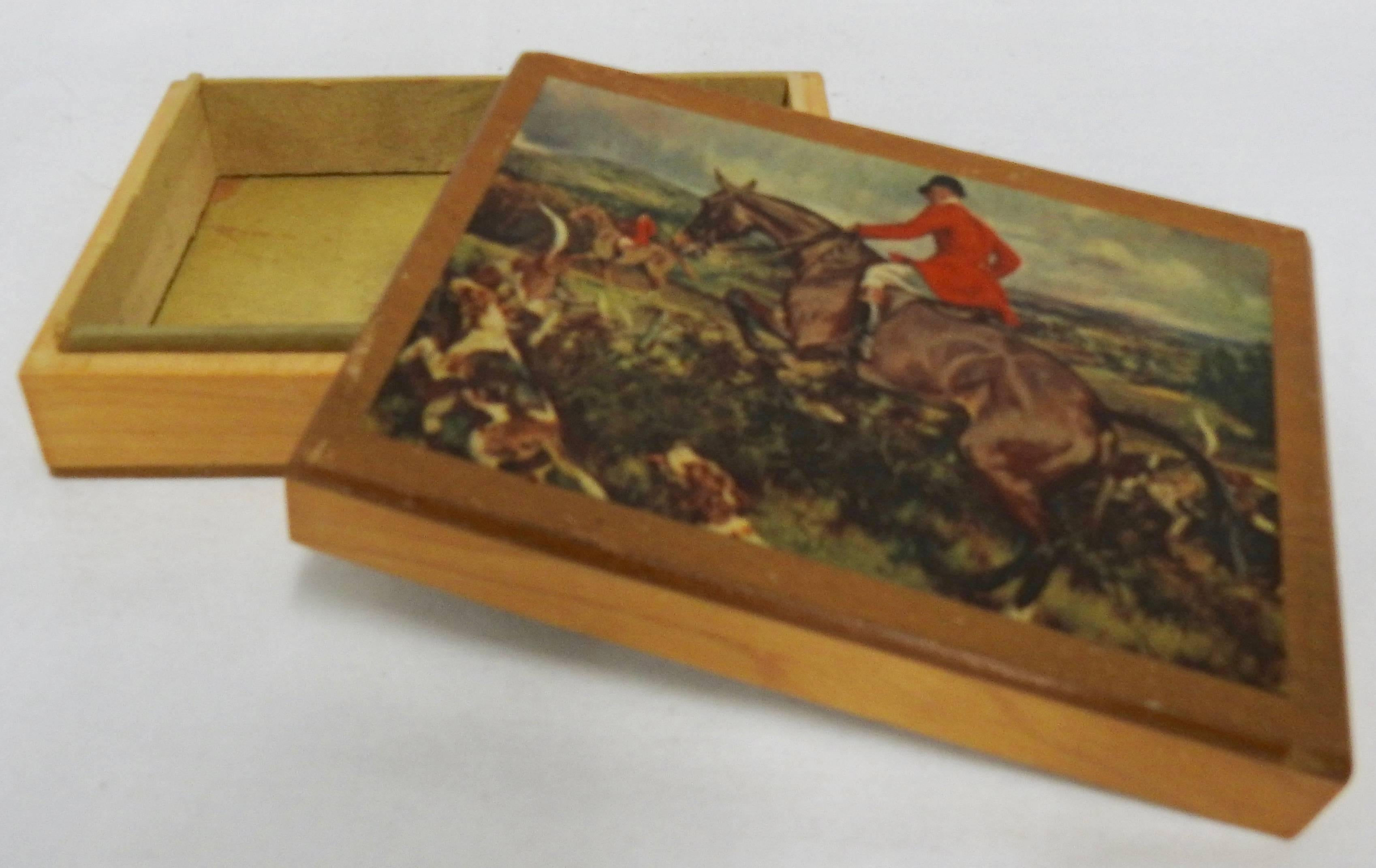 Wooden Box with Decoupage Hunt Scene, Vintage