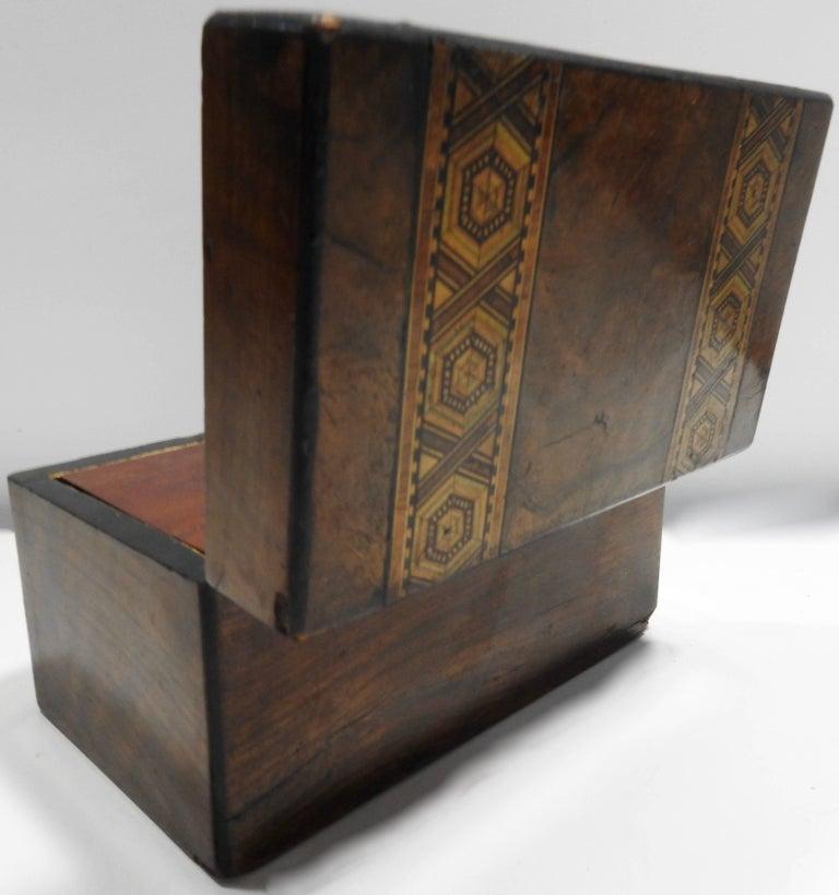 British 19th Century English Tunbridge Walnut Tea Caddy For Sale