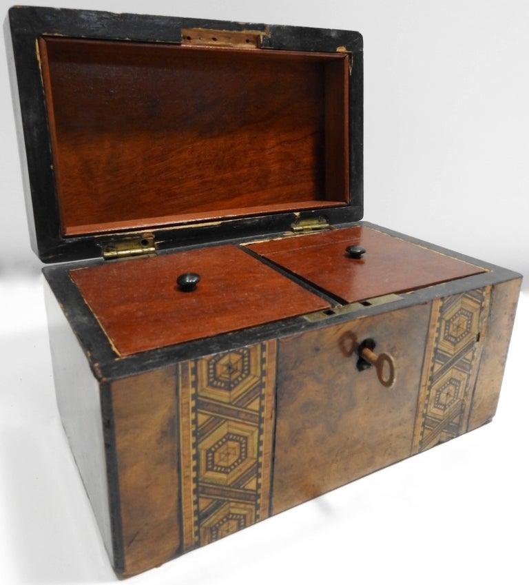 Hand-Crafted 19th Century English Tunbridge Walnut Tea Caddy For Sale