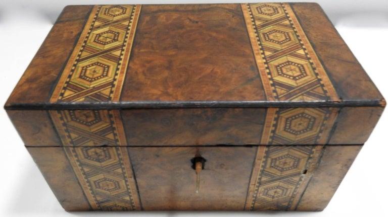 19th Century English Tunbridge Walnut Tea Caddy For Sale 3