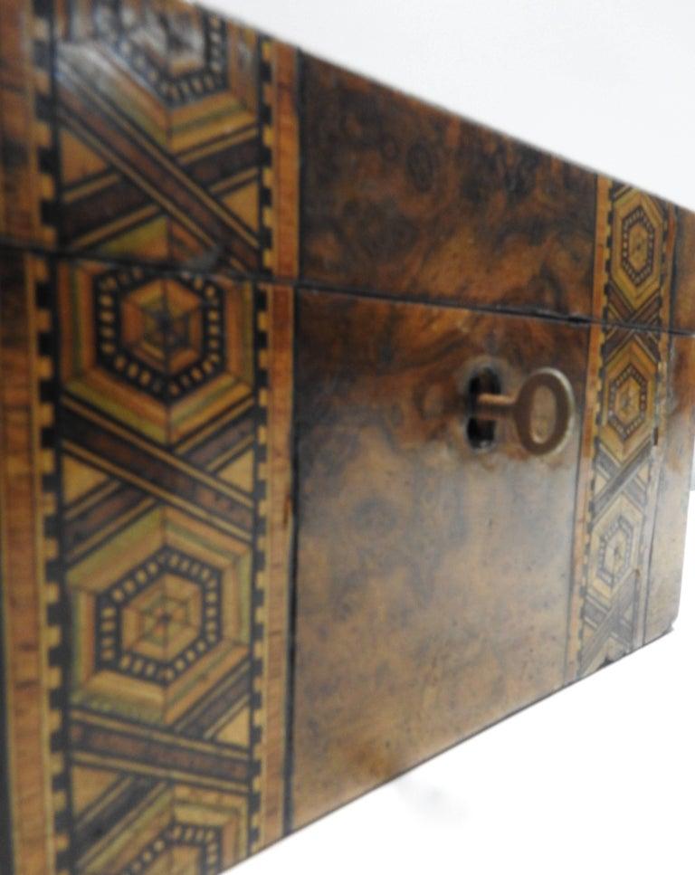 19th Century English Tunbridge Walnut Tea Caddy For Sale 4