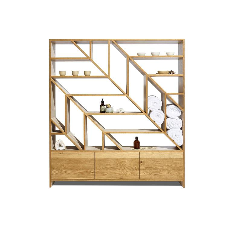 Leaf White Oak Room Divider and Display Shelving in Natural and Bone