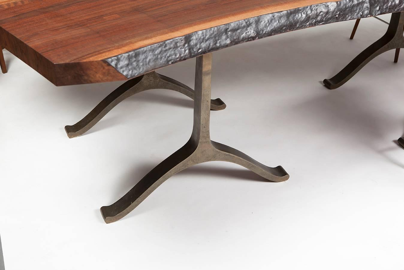 Bddw Walnut Slab Live Edge Dining Table With Cast Bronze