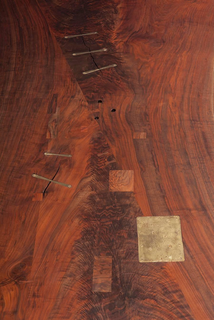 Bddw walnut slab live edge dining table with cast bronze for Live edge wood slabs new york