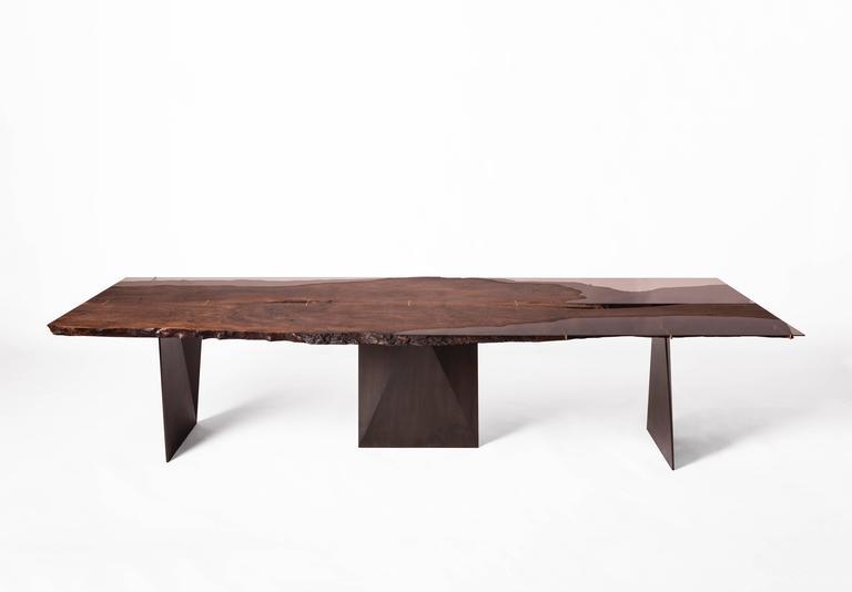 Modern Live Edge Bastogne Walnut and Glass Dining Table on Blackened Steel Base 3