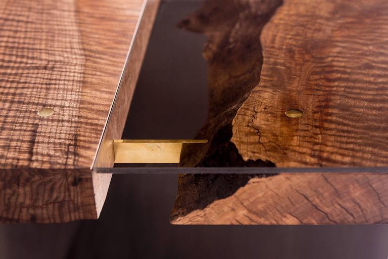 Modern Live Edge Bastogne Walnut and Glass Dining Table on Blackened Steel Base 6