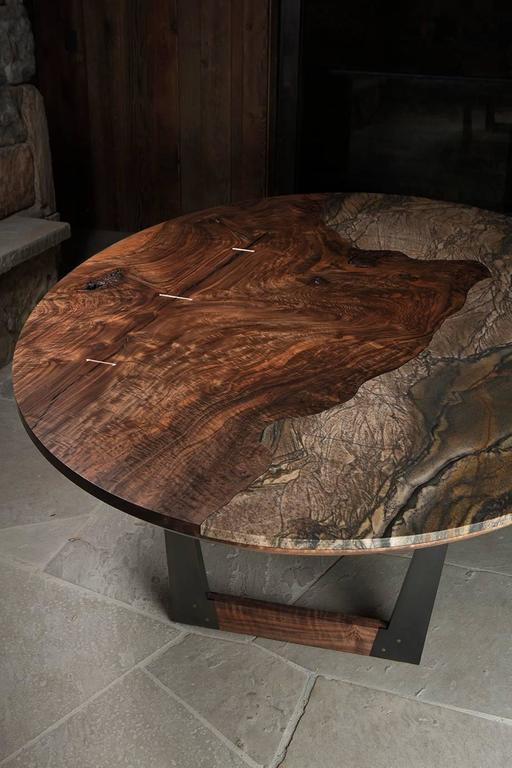 Blackened Modern Granite and Bastogne Walnut Oval Dining Table with Wood and Steel Base For Sale