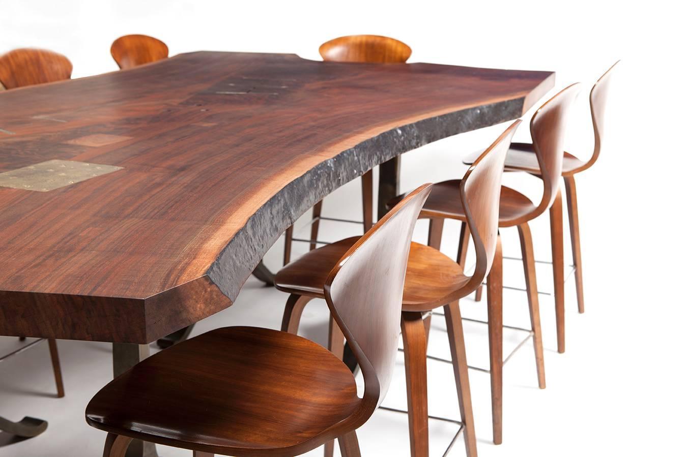 BDDW Walnut Slab Live Edge Dining Table with Cast Bronze  : BDDWCornerz from www.1stdibs.com size 1348 x 899 jpeg 97kB