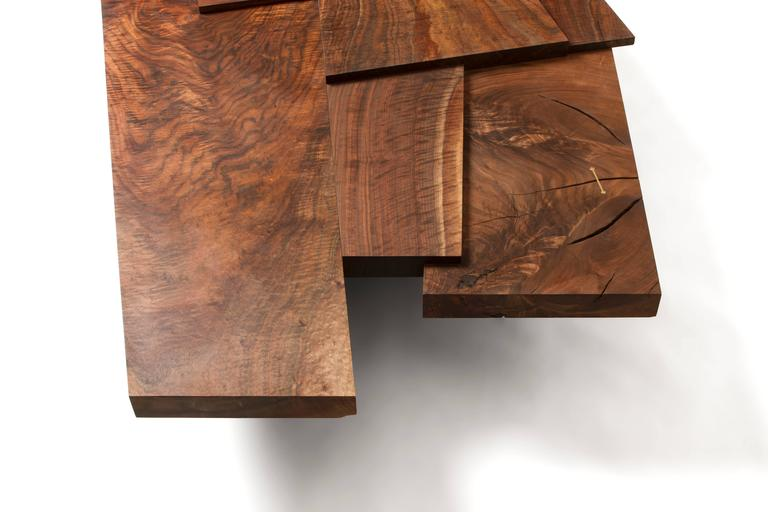 Modern Claro Walnut Strike or Slip Coffee Table with Brass and Charred Beam Base In New Condition For Sale In los angeles, CA