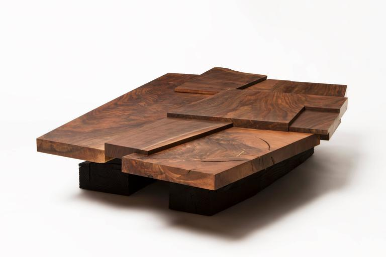 Contemporary Modern Claro Walnut Strike or Slip Coffee Table with Brass and Charred Beam Base For Sale