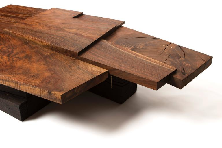 Modern Claro Walnut Strike or Slip Coffee Table with Brass and Charred Beam Base For Sale 1