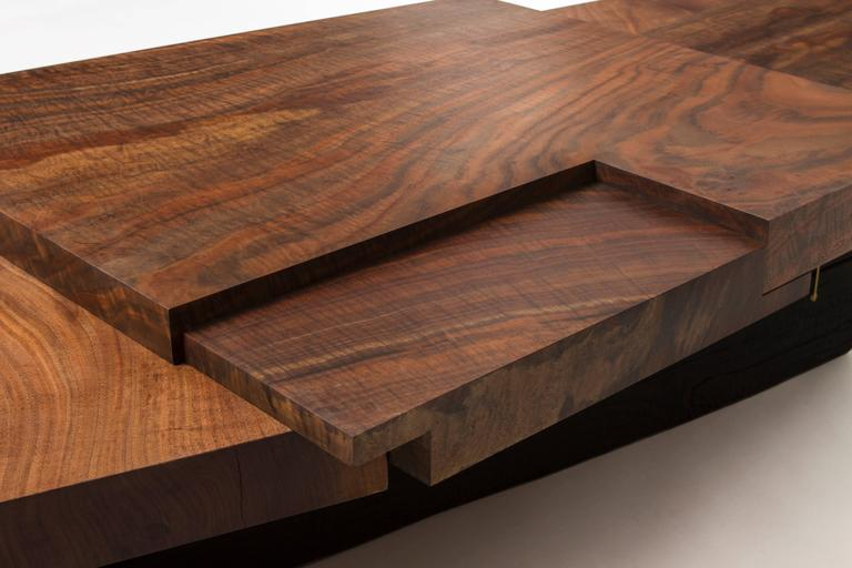 Modern Claro Walnut Strike or Slip Coffee Table with Brass and Charred Beam Base For Sale 2