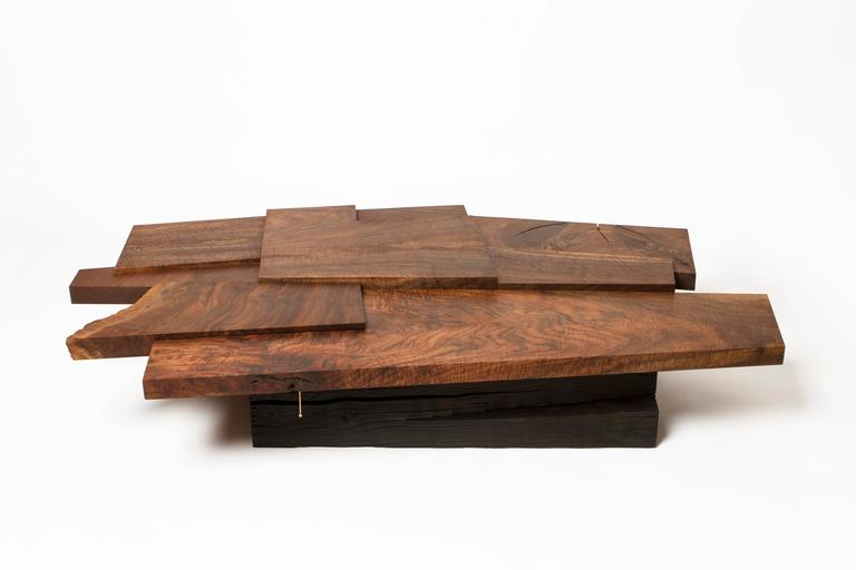 Modern Claro Walnut Strike or Slip Coffee Table with Brass and Charred Beam Base For Sale 3