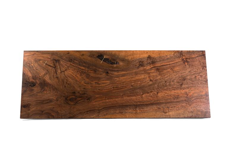 Modern Cast Bronze Trestle Dining Table with California Bastogne Walnut Slab Top In New Condition For Sale In Santa Monica, CA