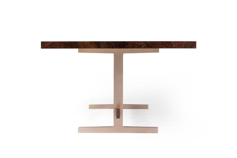 American Modern Cast Bronze Trestle Dining Table with California Bastogne Walnut Slab Top For Sale