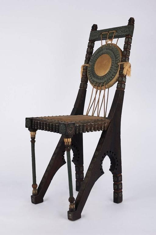 Early 20th Century Italian Wooden Chair by Carlo Bugatti In Good Condition For Sale In Notting Hill, GB
