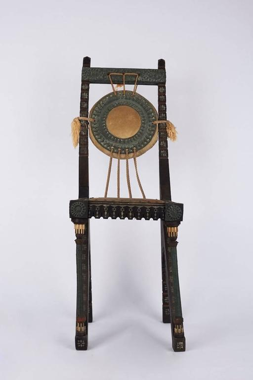 Early 20th Century Italian Wooden Chair by Carlo Bugatti For Sale 1
