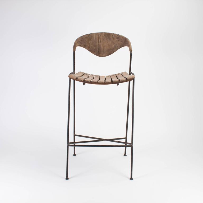 Mid-century Modern Wooden Bar Stool by Arthur Umanoff, 1960 2