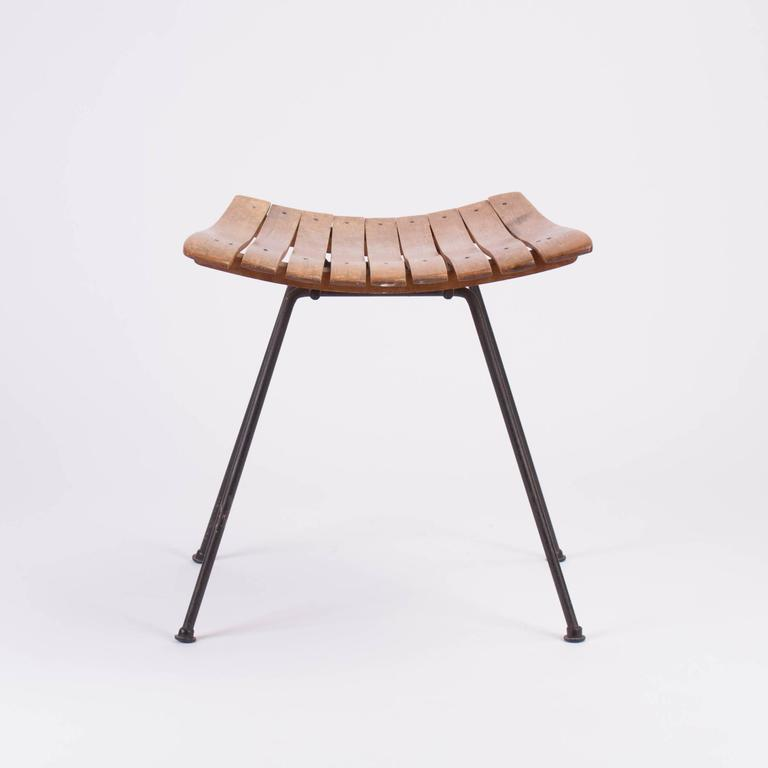 Superb Mid Century Modern Wooden Vanity Stool By Arthur Umanoff Dailytribune Chair Design For Home Dailytribuneorg