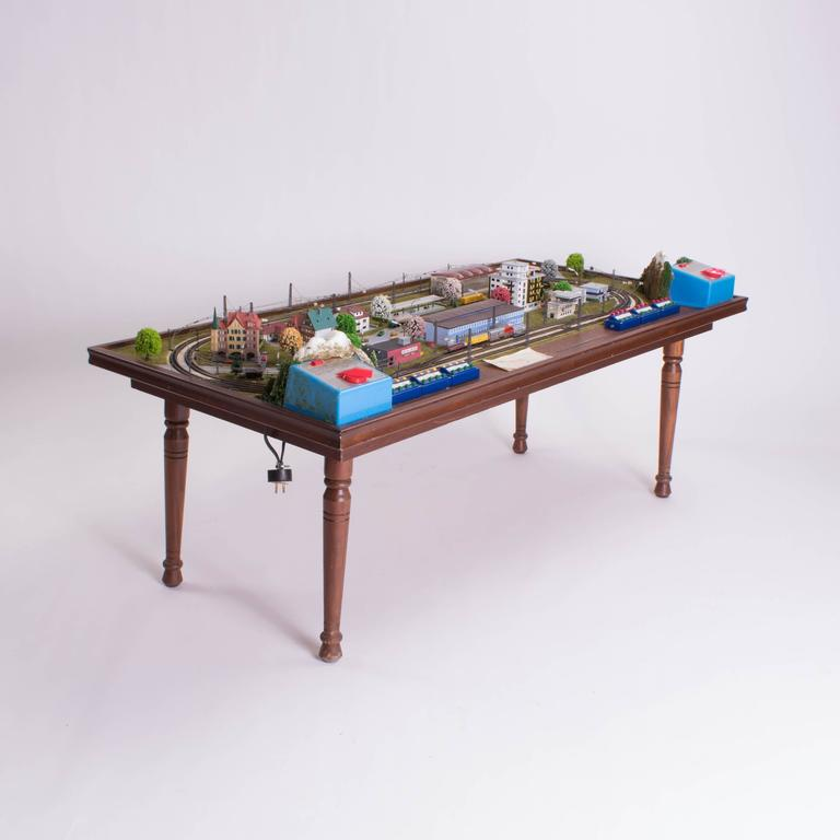 Merklin Train Set Table Under Perspex Cover For Sale At