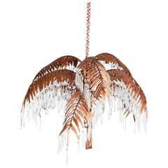 Handcrafted Copper Palm Tree Chandelier with Czech Crystal Prisms