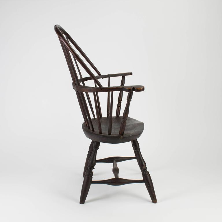 American 18th Century Pine And Hickory Black Windsor Armchair For Sale