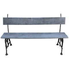 19th Century French Cast Iron and Oak Bench