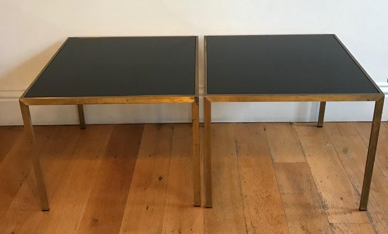 Mid-Century Modern Pair of French 1970s Gilt Metal Tables For Sale