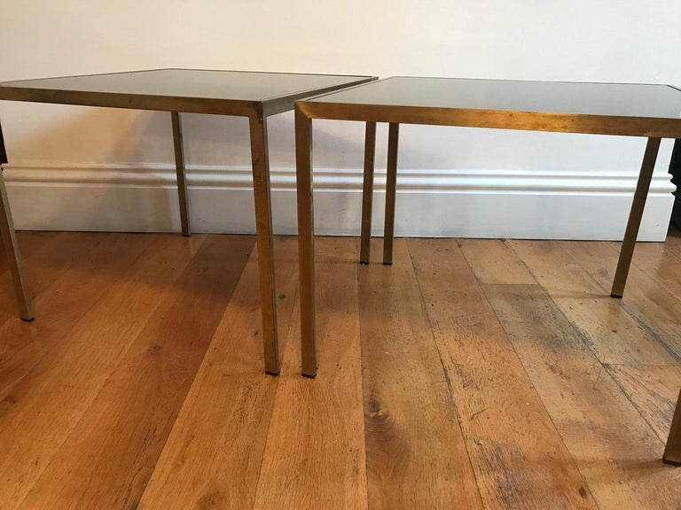 Pair of French 1970s Gilt Metal Tables For Sale 2