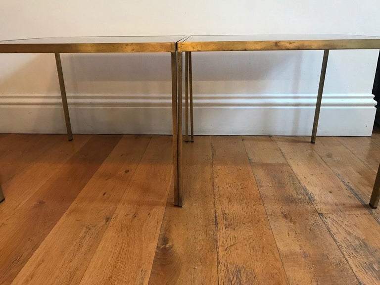 Pair of French 1970s Gilt Metal Tables For Sale 3