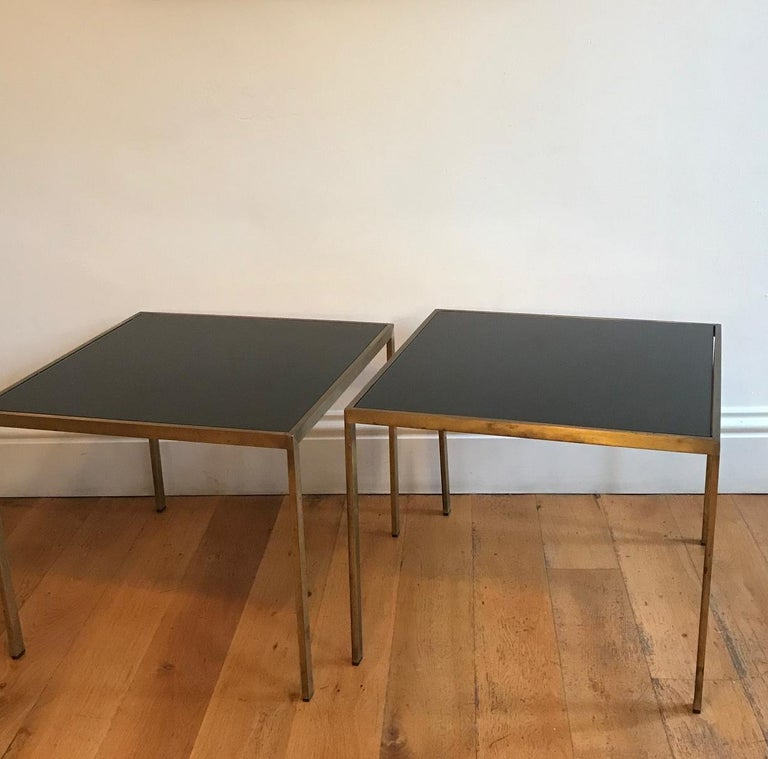 Pair of French 1970s Gilt Metal Tables For Sale 4