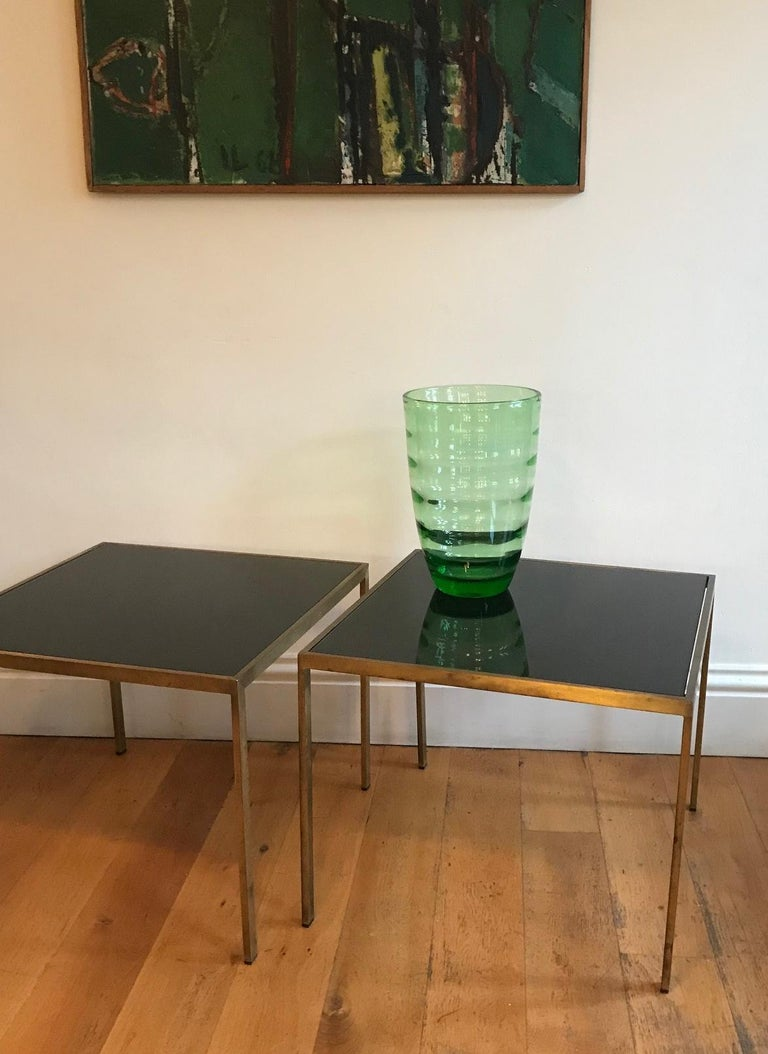 Pair of French 1970s Gilt Metal Tables For Sale 5