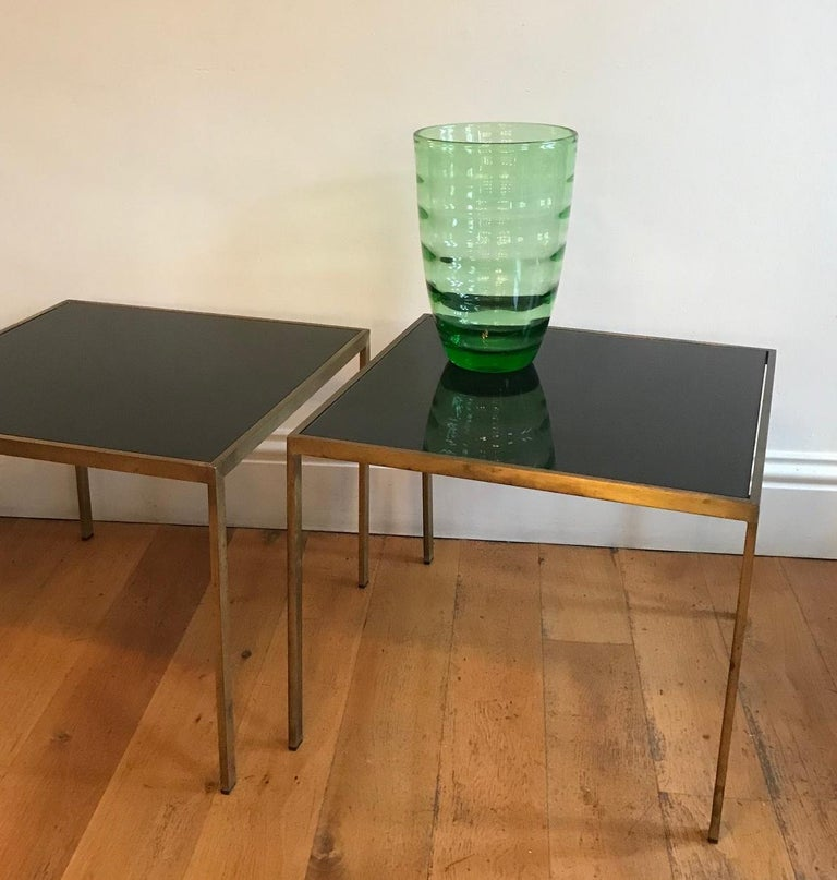Pair of French 1970s Gilt Metal Tables For Sale 6