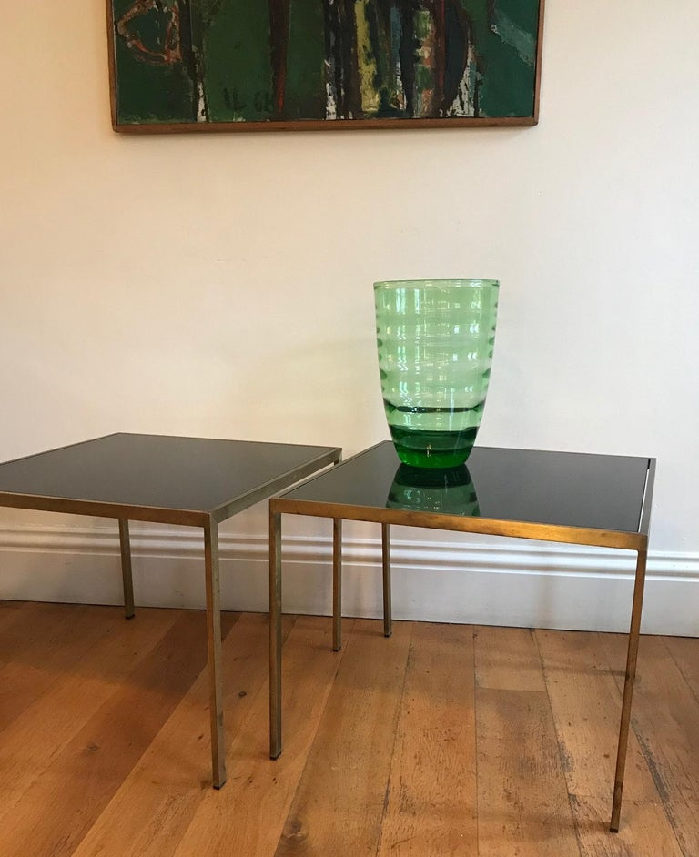 Pair of French 1970s Gilt Metal Tables For Sale 7