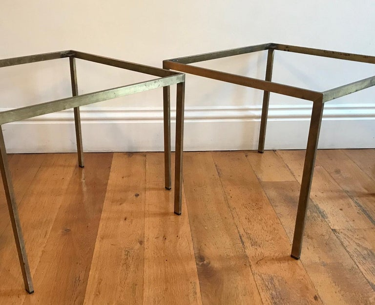 Pair of French 1970s Gilt Metal Tables For Sale 8